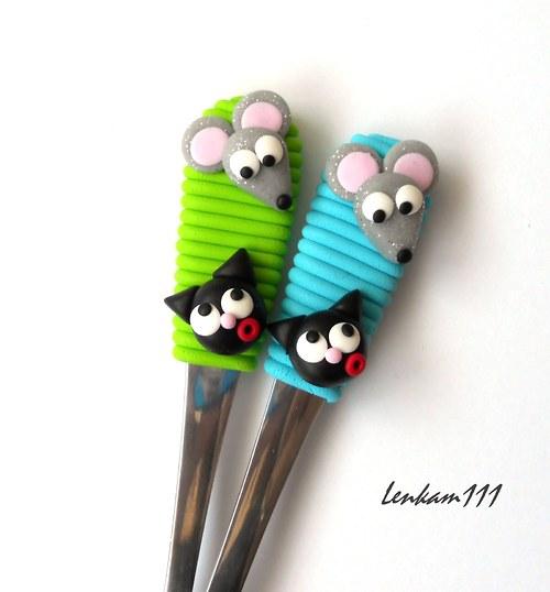 Lžička jako kočka s myší-sv.zelená