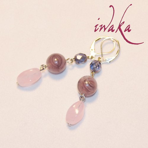 Fialovo růžové náušnice