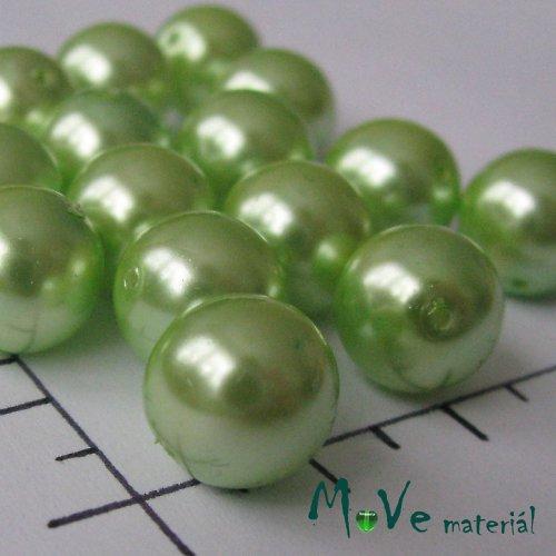 České voskové perle hráškově zelené 10mm, 18 ks