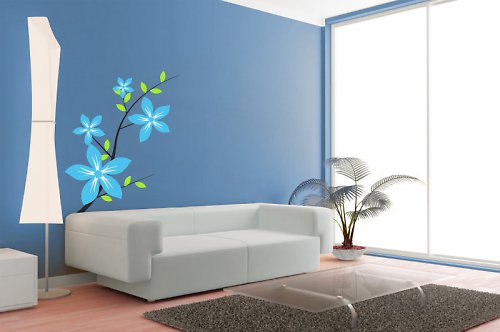 Květinová dekorace - samolepka na zeď