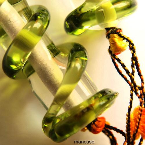 Zelené válce náhrdelník