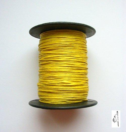 Voskovaná bavlněná šňůrka žlutá, 1 mm, 4 m