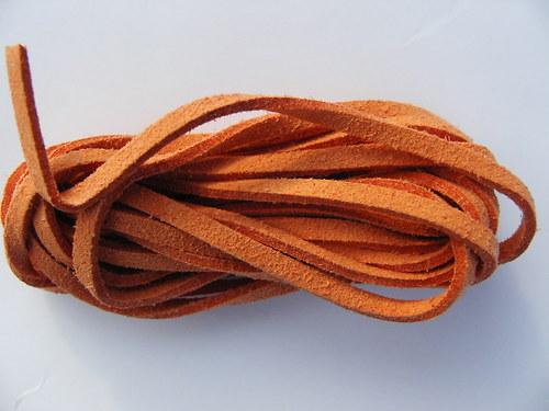 Imitace kůže, oranžová 3 mm