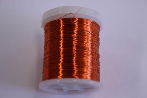 Měděný drátek 03mm - oranžový, návin 48,5-50m