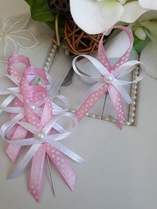Růžový vývazek s puntíky - sada 10ti kusů