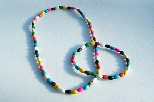 Sada náhrdelník a náramek v pestrých barvách