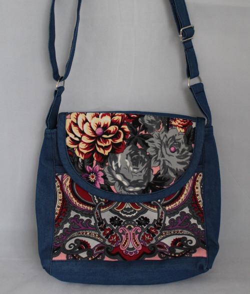 Taška květinový vzor modrá 5
