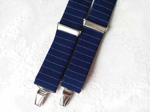 Retro gentleman suspenders (dark blue/stripes)