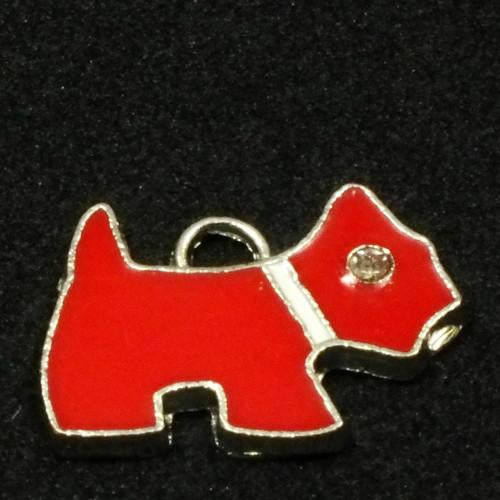 Přívěsek - pes červený s korálkovým okem, 1 ks