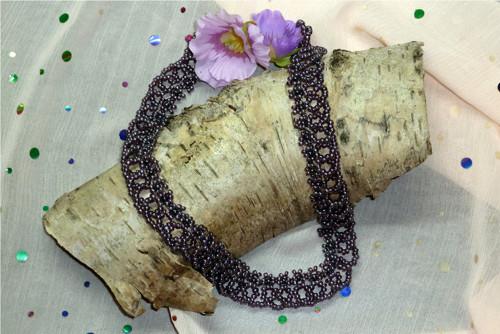 Šitý náhrdelník Fialové mámení