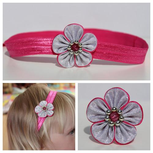 Čelenka pruženka - růžovo-stříbrný květ