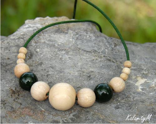 Lesní dřevěný náhrdelník s křemenem