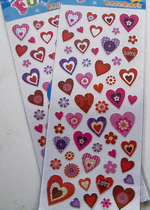 Samolepky PVC srdce a květ/ 10x23cm/ 1ks