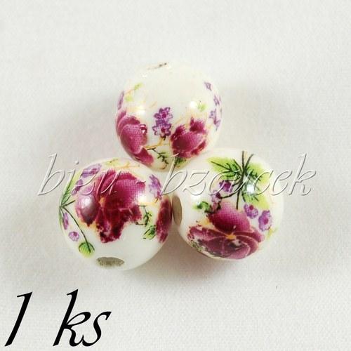 Keramický korálek s fialovými květy - 12mm - 1ks