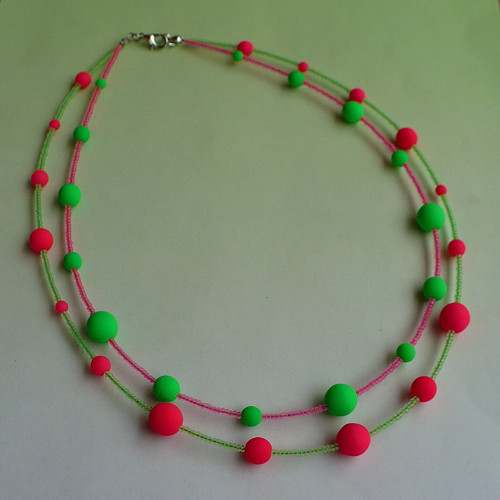 Růžovo-zelený náhrdelník