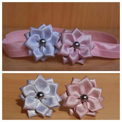 Čelenka pruženka růžová - stříbrný a růžový květ
