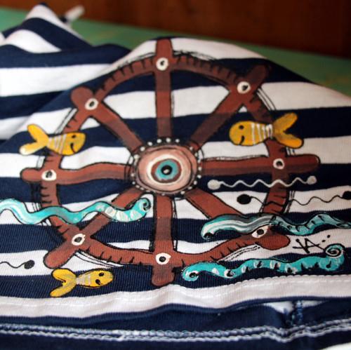 Malovaná námořnická čepule DOSPĚLÁ