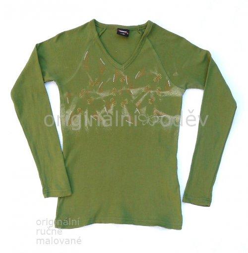 Malované tričko dámské - rostliny? - zelené