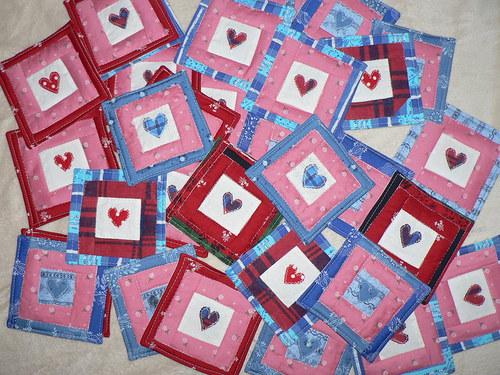 polštářky pod hrníček - patchwork