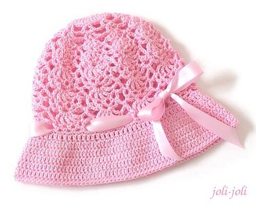 Háčkovaný klobouček růžový s mašličkou