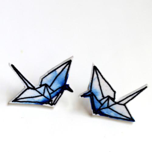 Náušnice: Origami jeřábi akvarel modří