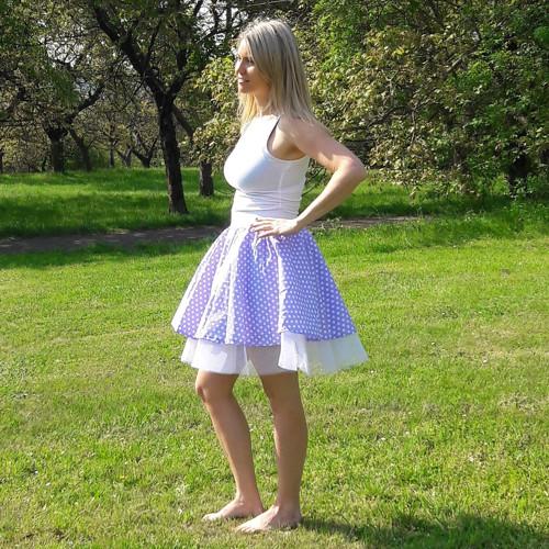 retro sukně- levandule