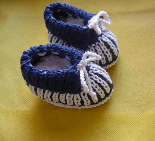 Bačkůrky námořnická modř. + bílá, vel. 0 - 3 měs.