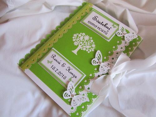 Svatební kniha hostů- butterfly zelená