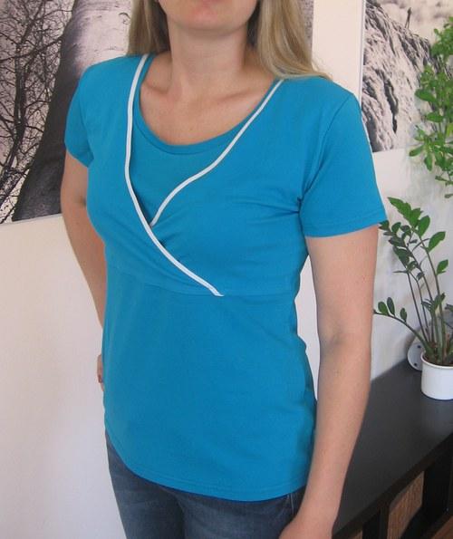 Diskrétní kojící tričko tyrkysové - velikost XXL