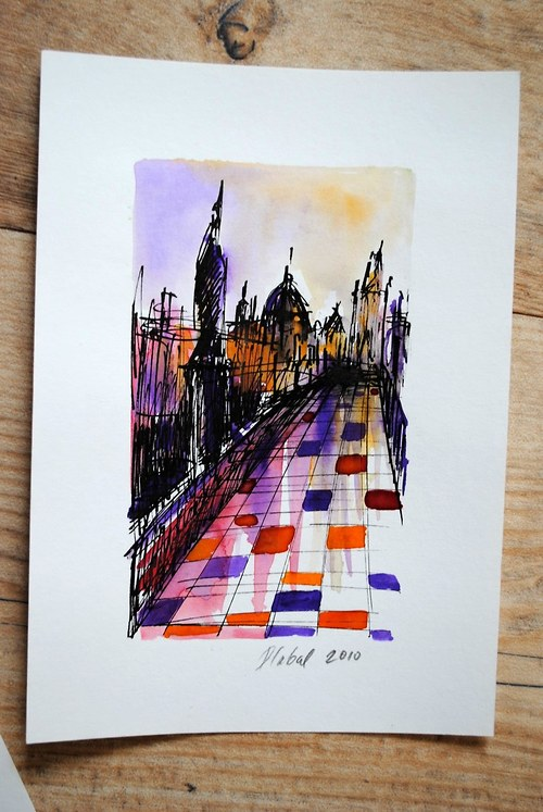 Akvarel, Praha / Karlův most / Podvečer