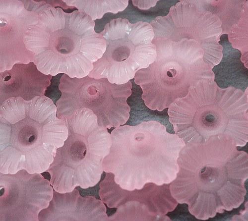 Akrylová květina růžová, 11mm - 10ks