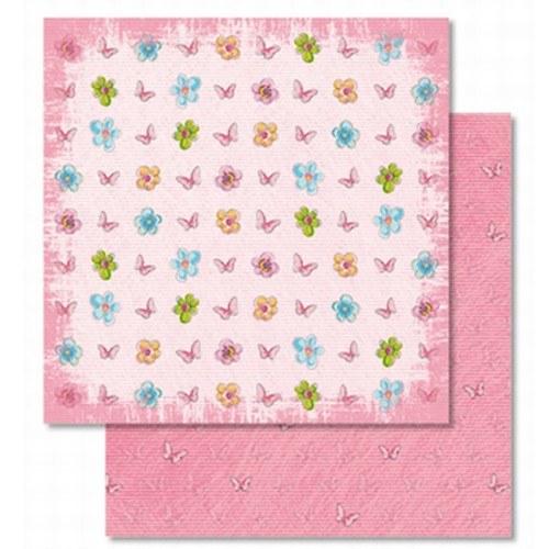 Oboustranný papír - Květy a motýlci