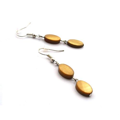 Perleťové oválky - olivově hnědé náušnice