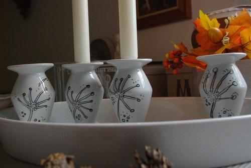 Podzimní porcelánový svícen s chmýřím