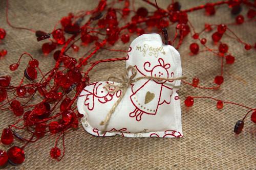 Srdíčko vánoční s andílky