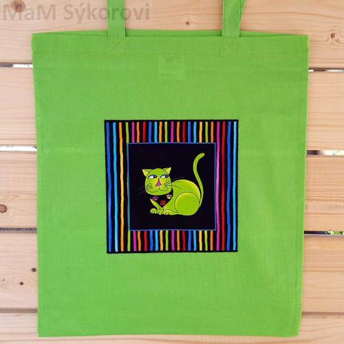 Bavlněná taška s aplikací zelený kocour