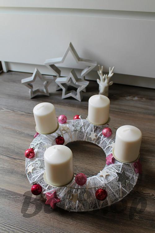 Adventní svícen Růžové baňky