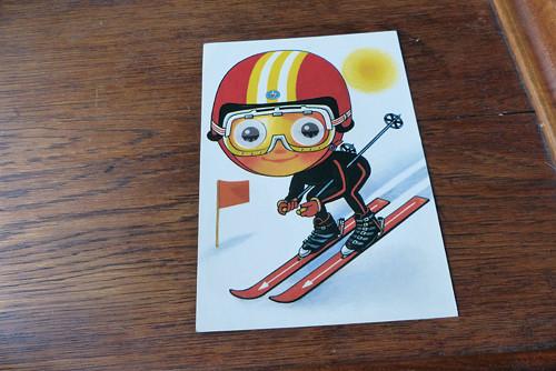 Lyžař...mrkací pohlednice
