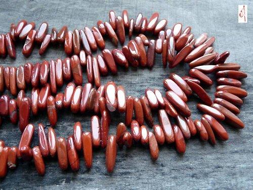 Jaspis červený zuby, 3 ks