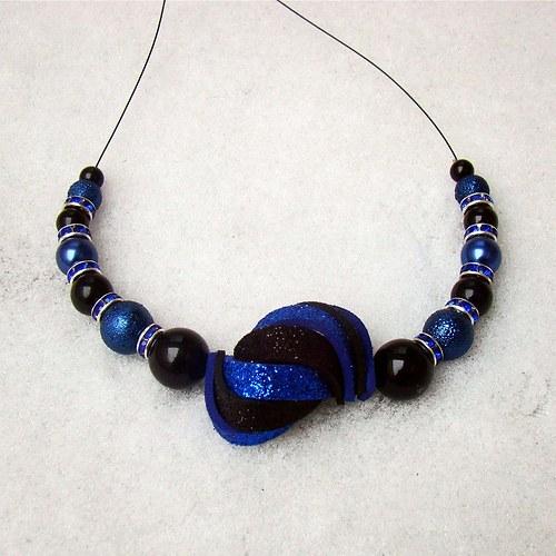 náhrdelník ulita třpytivá modročerná