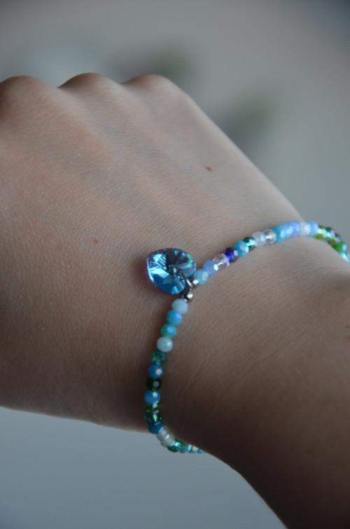 Swarovski přívěsek srdce a broušené sklo do modra