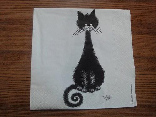 Ubrousek na decoupage - cat