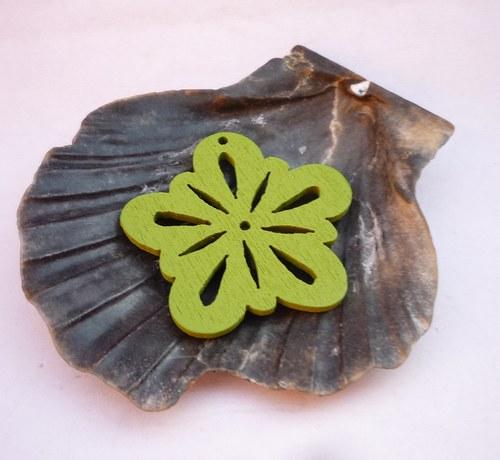 dřevěné kytičky 2 ks-zelené
