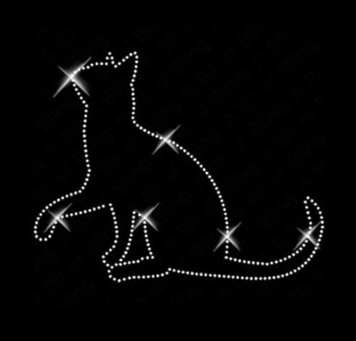Kočka - Štrasová nažehlovačka, hot fix kamínky