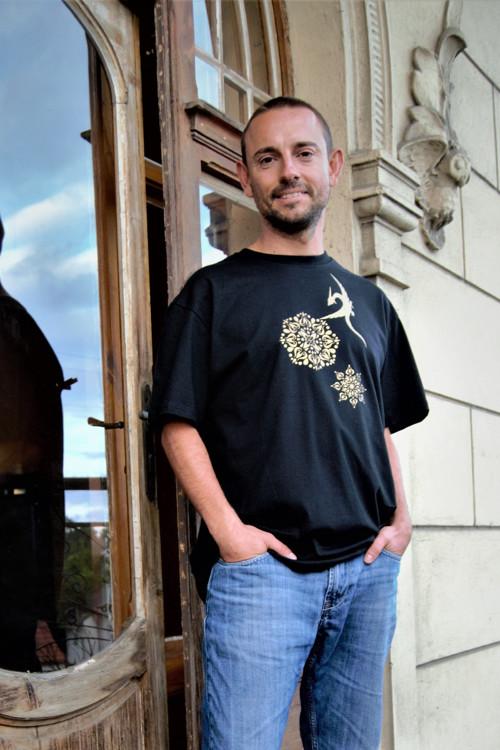 Pánské triko Drak zlatý s mandalami