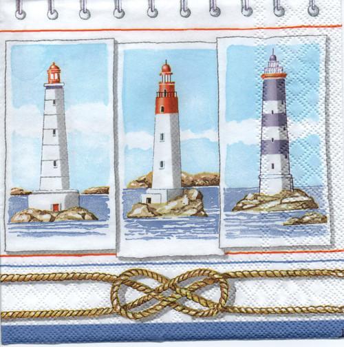 Papírový ubrousek, majáky, moře, 2 ks