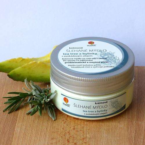 Šlehané mýdlo s avokádovým olejem_tea tree+bylinky