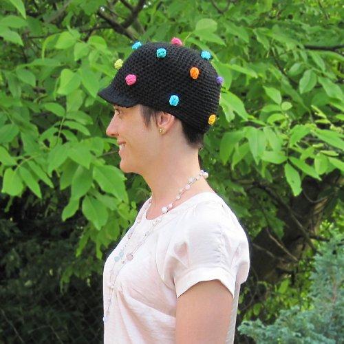 Čepice s kšiltem - Bambulky-Lentilky