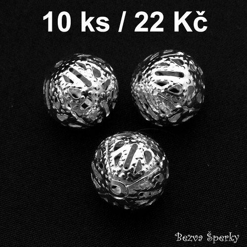 Stříbrný ozdobný korálek 12 mm, 10 ks