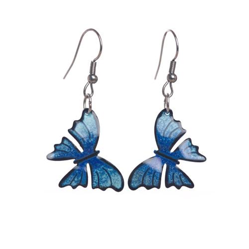 motýlí náušnice modré s černou